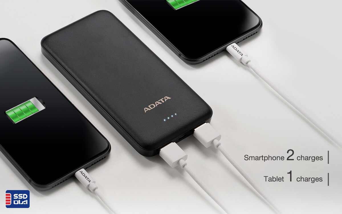پاوربانک ای دیتا T10000 دو خروجی USB
